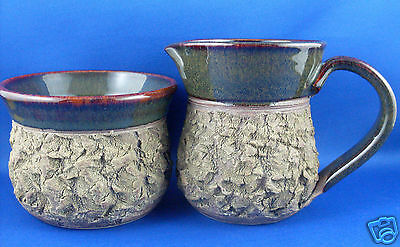 (NU) GRANT LEHMANN Unique BARK POTTERY Milk Jug & Sugar Bowl Collectable In Aust