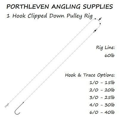 5 x 1 Hook Clipped Down Pulley Sea Fishing Rig, All Sizes, Free P&P