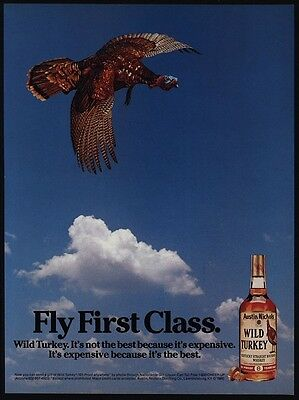 1985 WILD TURKEY Kentucky Whiskey - Fly First Class - VINTAGE AD