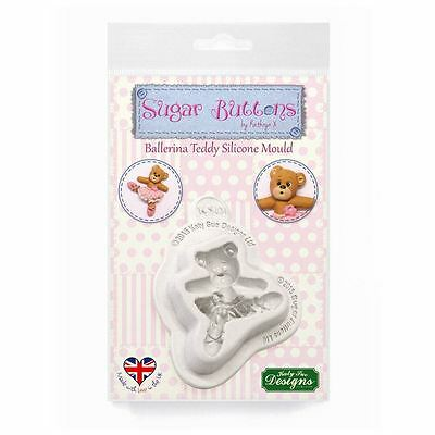 Sugar Buttons Cupcake Fondant Icing Embellishment Mould: Ballerina Teddy