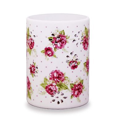 White  Oil Burner with roses- includes free tlight and fragrance oil