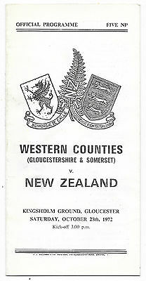 1972 - Western Counties v New Zealand, Touring Match Programme.