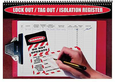 Lock Out Tag Register Logbook Loto Lockout Isolation Log Book