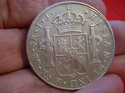 Historic Lima Peru 1798 Mint Carolus 1111 Silver Spanish 8 Reales Lovely Coin