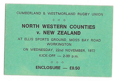 1972 - North Western Counties v New Zealand, * Rare* Touring Match Ticket.