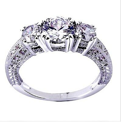 Beautiful 10Kt Gf White Gold Antique Style 3 Stone Lab Diamond Engagement Ring