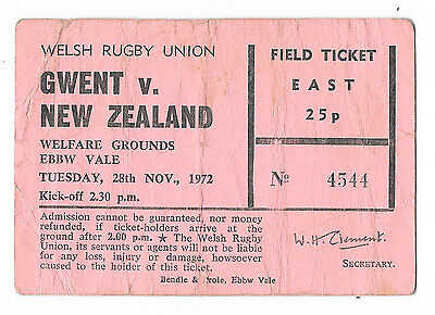 1972 - Gwent v New Zealand, Touring Match Ticket.