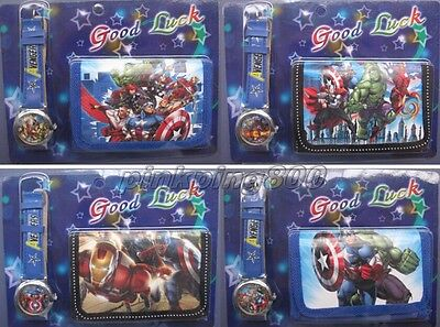 Lot Super Hero Faux Leather Quartz Watches and Wallet Sets Party Gifts S39