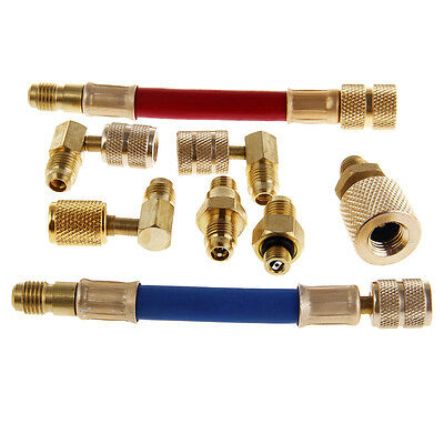 Car Auto Air Conditioner Refrigeration R134A R12 Connector Adapter Hoses Set Kit