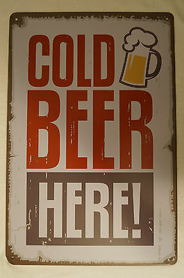 RETRO STYLE TIN SIGN - Cold Beer Here !
