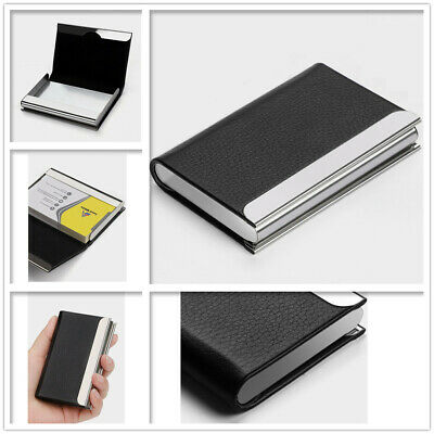 Business Card Holder Case Cover Black Leather Metal Credit Card Mens Womens Gift