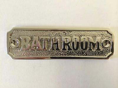 Toilet Bathroom Door Room Sign Plaque With Screws Solid Brass Antique Nickel