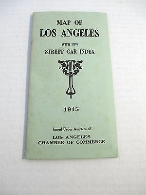 Rare 1915 Los Angeles Map & Street Car Index Chamber of Commerce CA