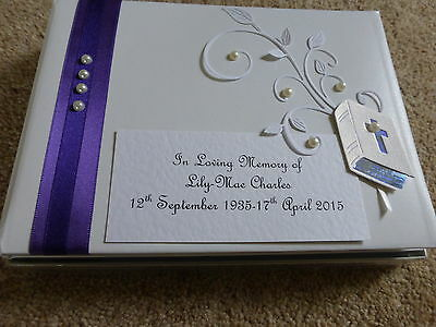 Personalised Condolence Bereavement memorial guest book Bible white purple