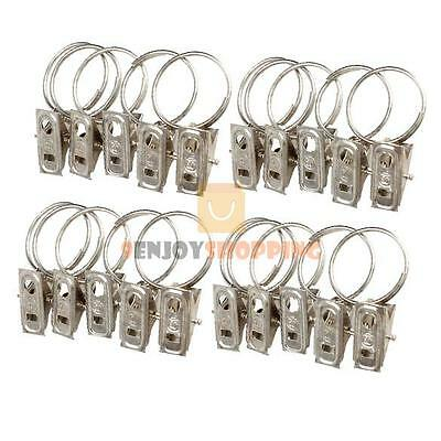 20pcs Stainless Steel Window Shower Curtain Rod Clips Hook Clips Drapery Rings