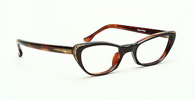 Vintage 1950s cateye eyeglasses by Art Line, Mod.Chica in demi amber with strass