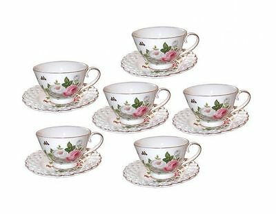 Fine Bone China Butterfly Rose 6 Cup and 6 Saucer Espresso Set