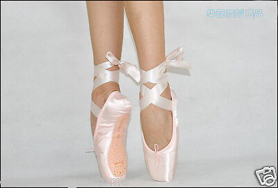 NEW Women's Girls Professional Satin Ballet Pointe Shoes Ribbon Adult Kids Size