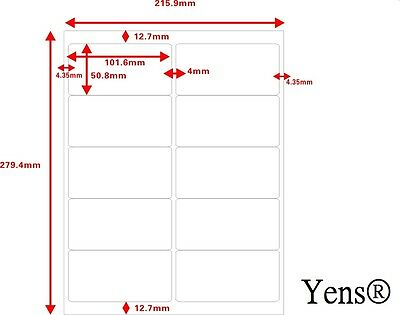 Yens®  500 Sheets 5000 Labels 10up Address Labels Size