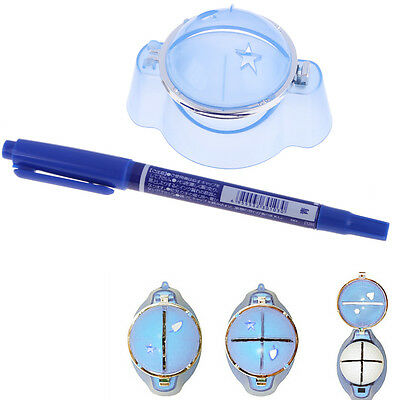 Golf Ball Liner Marker Template Drawing Alignment Tool Plastic + Pen Blue
