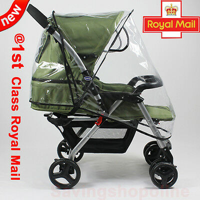 UK Quality Universal Buggy Pushchair Stroller Pram Transparent Rain Cover Baby