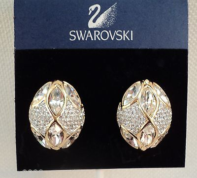 Signed Swan Swarovski Marquis & Pave' Clip Earrings NEW