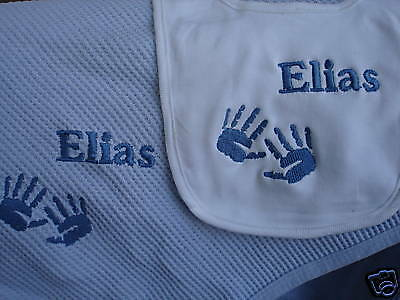 Baby Hands Personalized Baby Infant Toddler Blanket & Bib Combo ANY COLOR