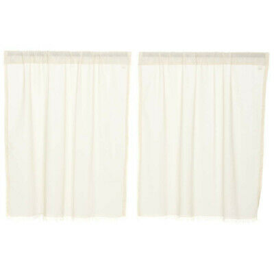 "TOBACCO CLOTH Antique White 24"" Tier Set Cafe Curtain Rustic Primitive Farmhouse"