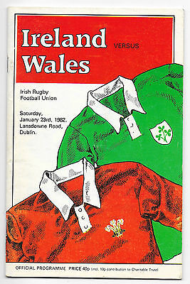 1982 - Ireland (Triple Crown) v Wales, Five Nations Match Programme.