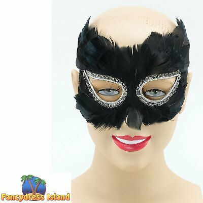 MASQUERADE BALL BLACK FEATHER EYE MASK - womens ladies fancy dress accessory