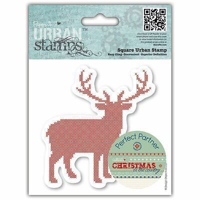 "4x4"" Christmas in the Country - Stag Papermania Urban Cling Rubber Stamp Craft"