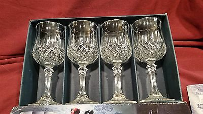 Cristal d'Arques/Durand Longchamp 8 Crystal WINE/WATER GLASSES  in Box