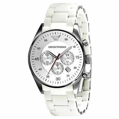 New Emporio Armani Ar5859 White Mens Watch - 2 Years Warranty - Certificate