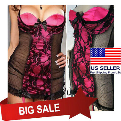 Lace Black/Pink Lingerie Padded Babydoll Valentines Nightgown Garter Dress M-8XL