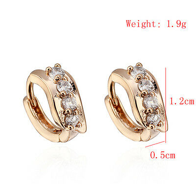 Fashion Womens Ladies Girl 18K Gold Plated Clear Crystal Zircon Ear Hoop Earring