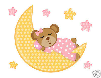 Pink Teddy Bear Moon Stars Wall Art Mural Decals Baby Girl Nursery Stickers