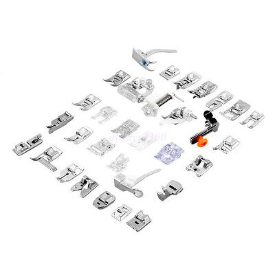32Pcs Domestic Sewing Machine Presser Foot Feet Set For Janome Brother Singer