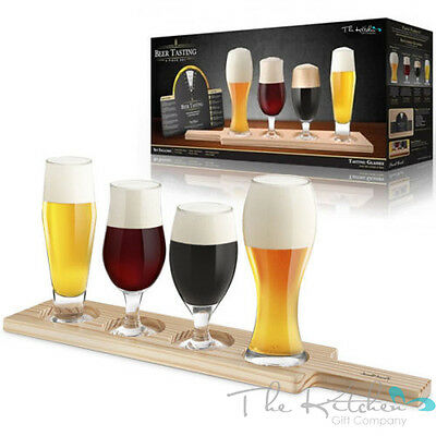 Speciality Beer Tasting Set 6 Piece Gift Set With Glasses Tasting Wheel & Paddle