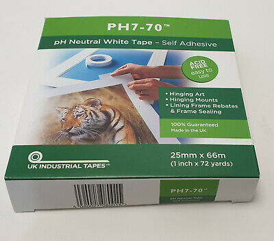 PH7-70 Acid Free mount fixing/frame seal White Tape 25mm x 66m Acid Neutral tape