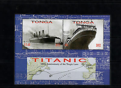 Tonga 2012 MNH Titanic 100th Anniv Tragic Loss 2v S/S Ships Boats Edward Smith