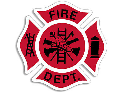 4x4 inch Red White & Black FIRE DEPT Maltese Shaped Sticker -firefighter fd logo