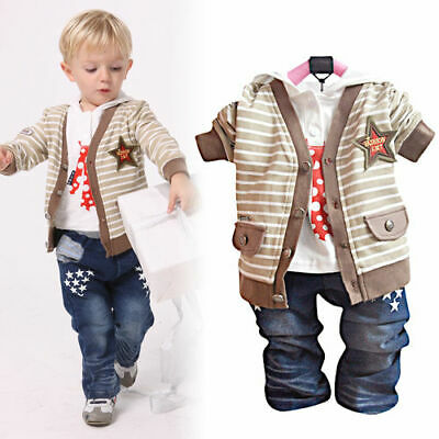 Toddler Boy 3 PC Outfit Set Party Suit Size 9-36 months Cardigan+Top+trousers.