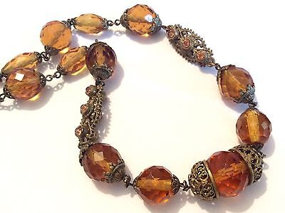 Antique Czech faceted amber-coloured glass & pressed gold-tone metal necklace