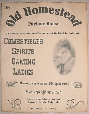Old Homestead Parlour House Ad Poster, brothel, bordello, old west, , wanted