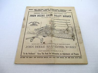 Early John Deere Harvester Works Instruction Manual Light Draft Binder Farm