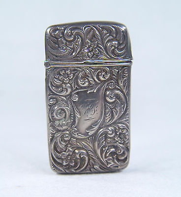 Renommee Sterling Match Safe Vesta Case Exquisite Repousse Foliate Scroll