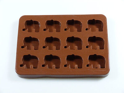 12 cell Elephant  Animal Chocolate Candy Silicone Bakeware Mould Resin Wax Soap