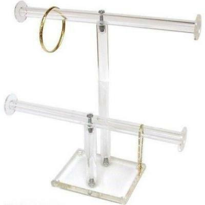 2 Tier Clear Acrylic T-Bar Bracelet Necklace Jewelry Displays Stands New