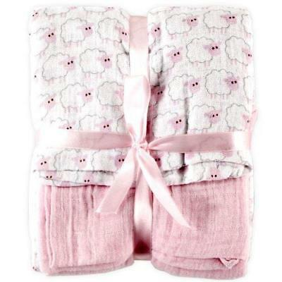 Hudson Baby 2 Count Muslin Swaddle Blanket, Pink New