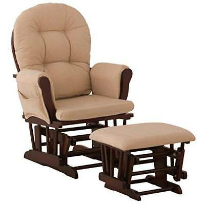 Stork Craft Hoop Glider and Ottoman Set, Cherry/Beige New